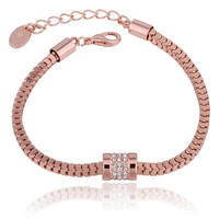 18K Rose Gold Chained Bracelet with Swarovski Elements