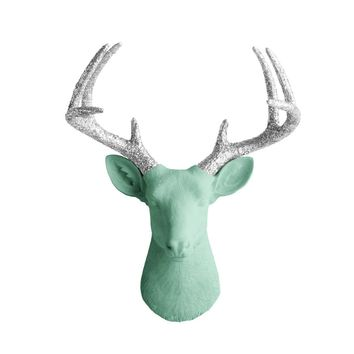 The Virginia | Large Deer Head | Faux Taxidermy | Mint Green + Silver Glitter Antlers Resin