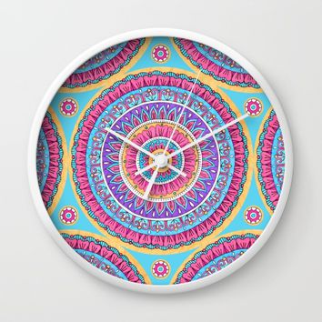 Summer Burst Mandala Wall Clock by Sarah Oelerich