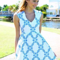 Blue Print V-Neck Dress with A-Line Skirt & Cap Sleeves