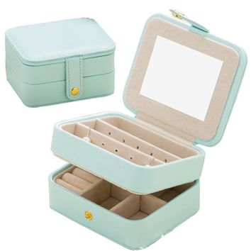 Jewelry Organizer Box-Longess Travel Portable Jewelry Storage Case Accessories Holder Pouch Bulit-in Mirror with Environmental F