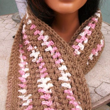 Brown and Pink Scarf