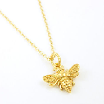 Tiny Bee Necklace, Gold Bumblebee Necklace, Gold Pewter Bumble Bee Charm Jewelry Gold Gift for Her on 18 Inch Gold Plated Chain