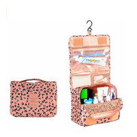 Pink Leopard Print Portable Hanging Toiletry Bag/ Portable Travel Organizer Cosmetic Bag for Women Makeup or Men Shaving Kit with Hanging Hook for vacation LXB-0016