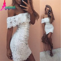 Gagaopt 2016 Summer dress off shoulder white lace dress Casual hollow out floral dresses for women vestidos