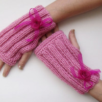 Pink Warm Fingerless Gloves - Wrist Warmers-Ready For Shipping