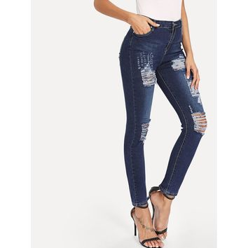 Ripped Basic Skinny Jeans