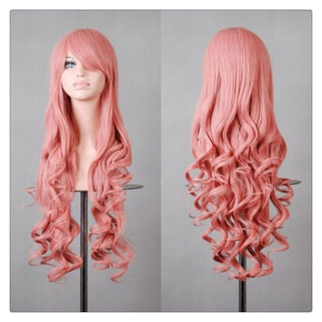 Women New Fashion Women Girl 80cm Wavy Curly Long Hair Full Cosplay Party Sexy Lolita wig  Sakura powder