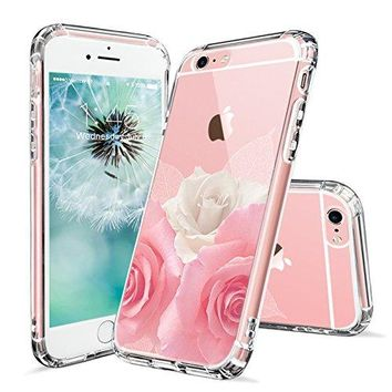 iPhone 6s Case, iPhone 6 Case for Girls, MOSNOVO Floral Roses Printed Flower Clear Design Transparent Plastic Hard Back Case with TPU Bumper Gel Protective Case Cover for Apple iPhone 6 6s (4.7 Inch)