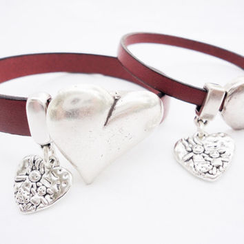 Mother and daughter bracelet, heart charm bracelet, silver leather bangle, set 2 bracelets