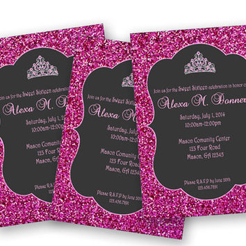 Hot Pink Glittery Sweet 16 Princess Invitations - Sweet Sixteen Bash - Photo Princess Birthday Party - Chalk Tiara Invite - Pink and Black