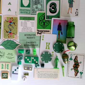 vintage green goodies . DIY green collage supplies vintage supplies assorted supplies . collectible green things . instant collection scrap