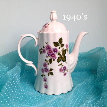 Antique Chocolate or Coffee Pot, Antique Server, Coffee Server, Vintage China, Bridal Shower Tea, Shabby Cottage Chic, Purple