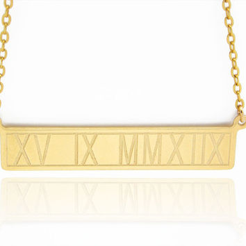 Roman numeral Gold bar necklace Personalized Roman numeral Name Necklace Gold Fill 14K Name Bar
