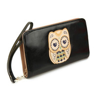 Black Owl Wallet Clutch