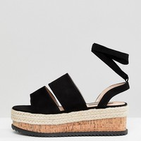 Lost Ink Black Ankle Tie Flatform Sandals at asos.com