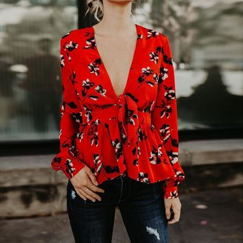Women Deep V neck blouses shirts sexy red floral printed bow ties party clubwear camis blusas 2018 spring summer shirt WS5497Y