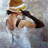 Andre Kohn Le Chapeau Jaune Neuf [Andre Kohn_A7177] - $99.00 oil painting for sale|Wonderful artwork|Buy it at once.