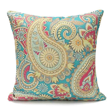 Cotton Linen Pillow Cover Case Paisley Cushion Bohemian Style Square Cushion Home Throw Pillowcase Cover