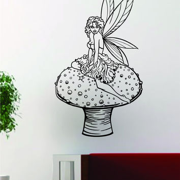 Fairy on a Mushroom Design Decal Sticker Wall Vinyl Decor Art