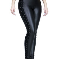 Black Pvc / Vinyl With Lace-Up Corset Sides Leggings