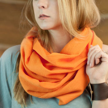 Orange Infinity Scarf, Cotton Gauze Scarf, Lightweight 100% Cotton Circle Scarf, Soft Scarf, Spring Accessory Women, Boho Ladies Scarves