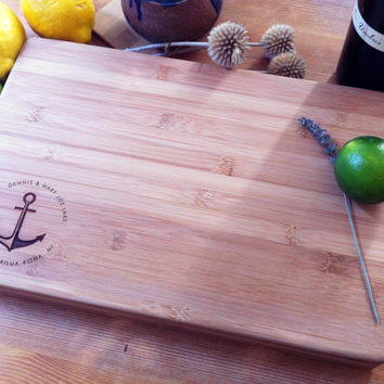 Personalized Cutting Board / Chopping Block Engraved Bamboo Custom Wedding, Engagement, Anniversary Gift Nautical Anchor w/ Name or Initials