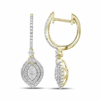 14kt Yellow Gold Women's Round Diamond Double Oval Frame Dangle Earrings 1.00 Cttw - FREE Shipping (USA/CAN)