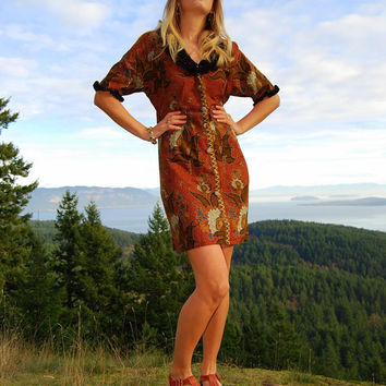 Vintage Floral Dress Size Large Boho Chic Ruffled Button Front Dress Brown Black Mid Length Pin Up Dress Hippie Ethnic Festival Dress