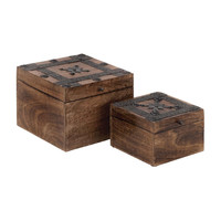 0-000233>Set Of 2 Decorative Solid Wood Box W/ Metal Accents