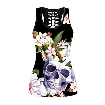 Skull Pink Flower Women's Hollow Out Back Tank Top