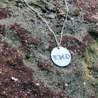 Initials Necklace - Personalized Initials Necklace - Personalized Handstamped Necklace