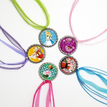 Alice in Wonderland Figures Necklace Handmade Girl Jewelry Bottle Cap Necklace Alice Party Favors Birthday Gift for Kid Set of 5