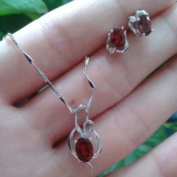 Natural red garnet stone wedding jewelry sets natural garnet stone earrings necklace S925 silver Fashion Round Women wedding