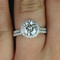 Kimberly Original Size Platinum Thin Round FB Moissanite and Diamond Halo Wedding Set (Other metals and stone options available)