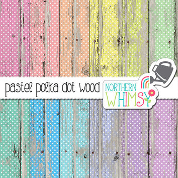 Polka Dot Wood Digital Paper - pastel polka dots on peeling paint - distressed wood scrapbook paper - printable paper - commercial use OK