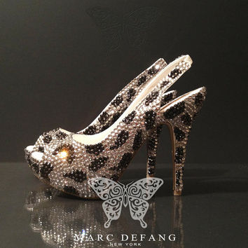 Leopard Prints Heels, Hematite and Clear Crystal, Ladies Luxury Slingbacks