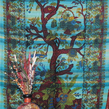 Tree Of Life Tapestry, BedSpread, Throw Wall Hanging INDIAN Handloom ,Vintage Indian Art, Indian Tapestry, Dorm Room, Beach Blanket