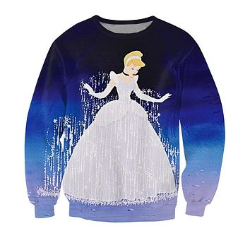 2015 New Arrive Cinderella's Ball Gown Sweatshirt Jumper Cinderella Beautiful Dress Crewneck Outerwear Women Men