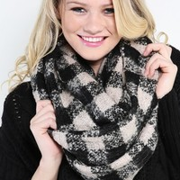 Rustic Checkered Plaid Knit Infinity Scarf | MakeMeChic.com