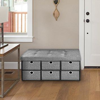 Ben&Jonah Collection Collapsible 6 Drawer Storage Ottoman - Grey Linen 30x15x15