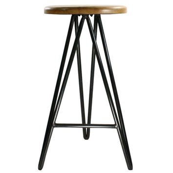 Wood and Iron Stool - Large