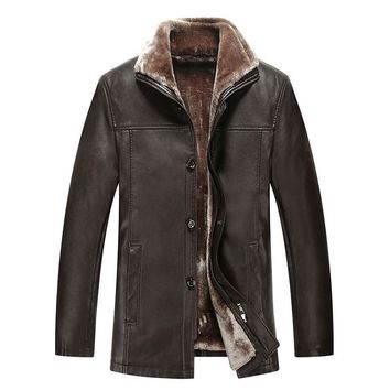 Haining winter new men's leather jacket lapels, sheep skin leather leather fur lambs wool bladder