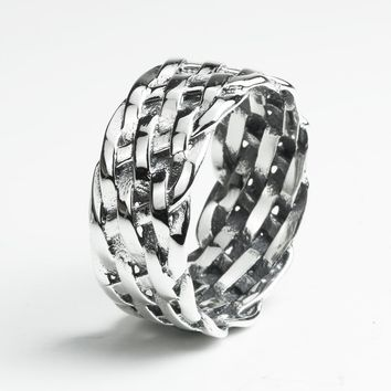 Braided Sterling Silver Ring For Women And Men Genuine 925 Silver Ring Vintage Jewellery