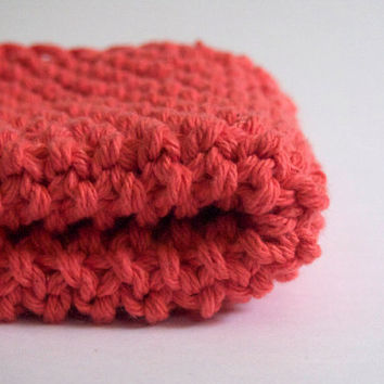 hand knit plushy cotton washcloth in coral or salmon pink
