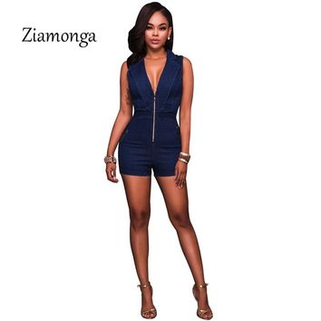 Ziamonga Women Summer Denim Jumpsuit Sleeveless Short Jeans Sexy Deep V-Neck Slim Cowboy Jumpsuits Girl Club Playsuits Rompers