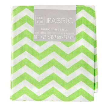 Lime Green Chevron Quilting Fabric Fat Quarter 18 x 21 inches~ Material- Precut ~All Things You