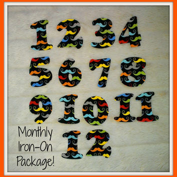 Monthly Iron-On Numbers for Baby Bodysuits, Months 1 - 12, Baby Boy, Black Mustache Themed Fabric