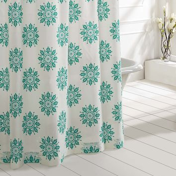 Mariposa - Turquoise - Medallion Motif - Shower Curtain