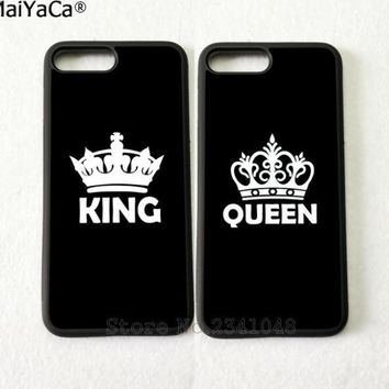 Cool king and queen best friends BFF love pair silicone soft phone cases for iPhone 5s se 6 6s plus 7 7plus 8 8plus X XR XS MAX coverAT_93_12